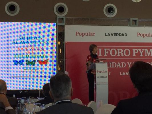 «El éxito de una empresa pasa por la felicidad de quienes la forman» Participación en el Foro Pyme del Banco Popular en Murcia